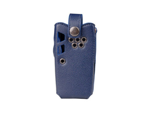 The Hytera HY1015-30C Leather Carrying Case features an open face to enable radio functionality.