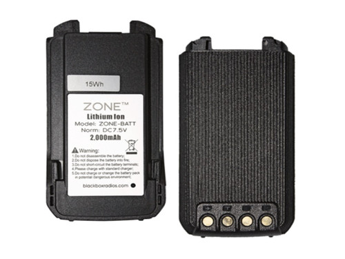 """The new Blackbox """"Zone"""" is a Compact, Rugged, Full Power Radio that uses a 2000 mAh Lithium Ion Battery. This battery is the spare or replacement battery for the Zone and Zone KB."""