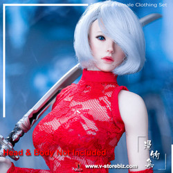 Manmodel MM011C MISS 2B's Lace Cheongsam Set Red