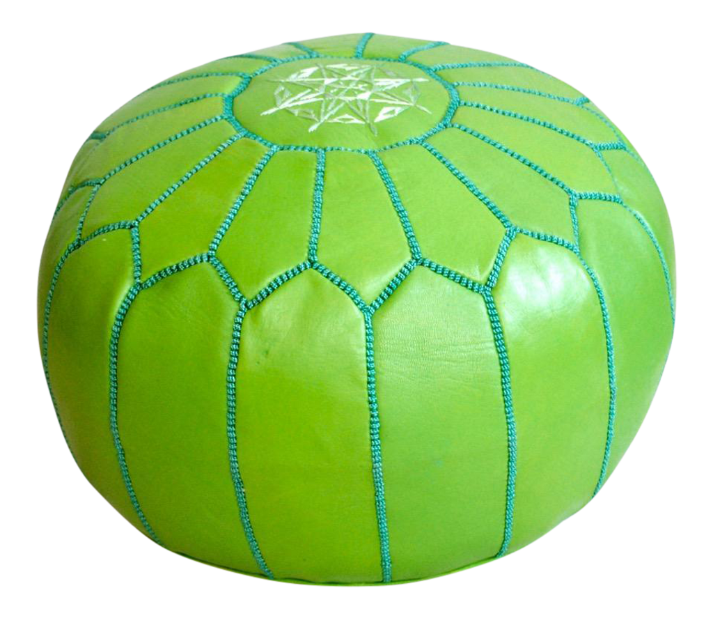 Moroccan Leather Pouf, Green | Sheherazade® Home