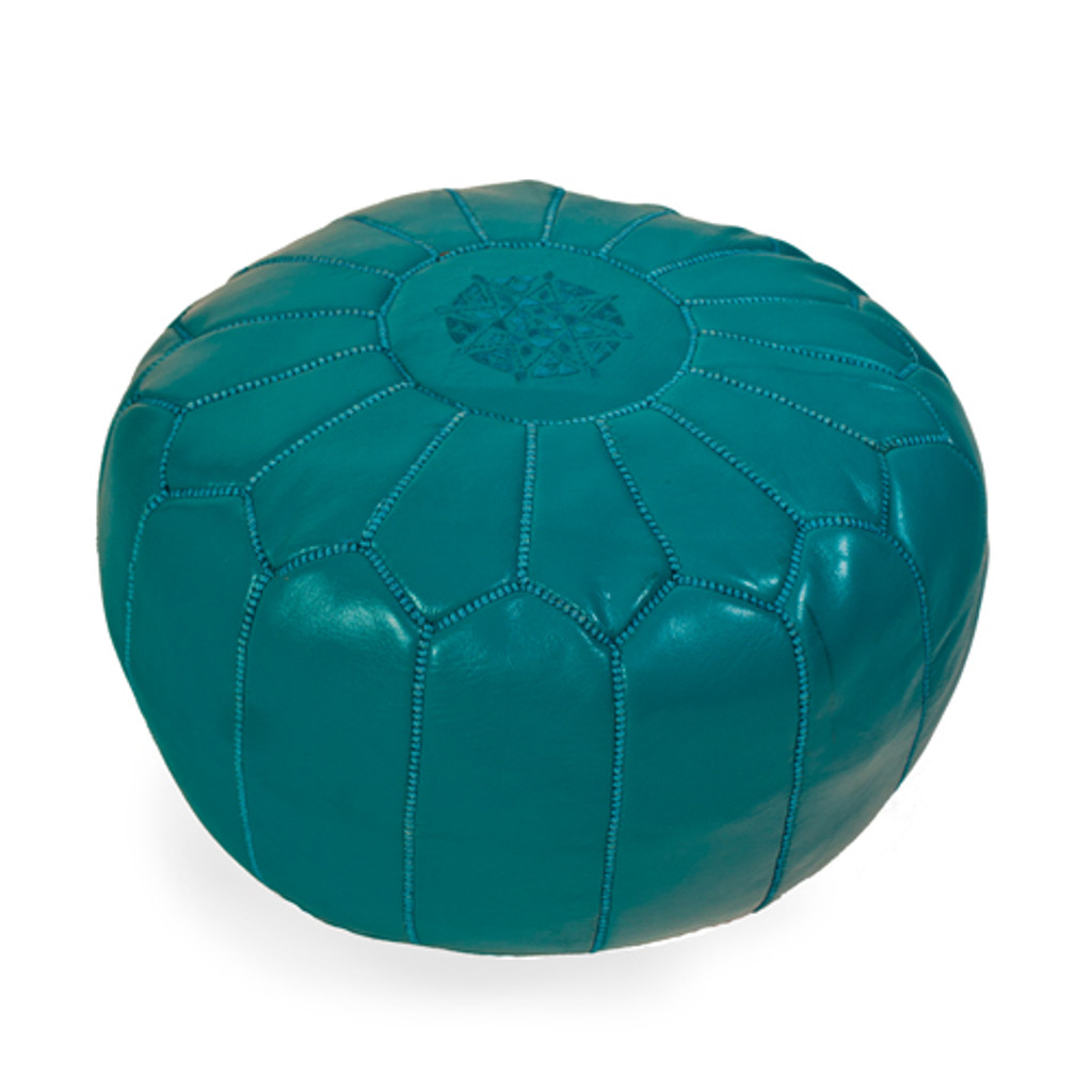 Moroccan Pouf Turquoise Leather