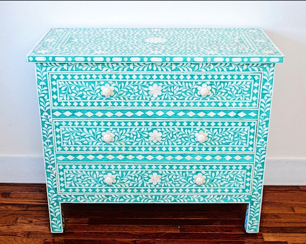 black artefacts bohemian bohemain chest of bone inlay four dresser drawers product