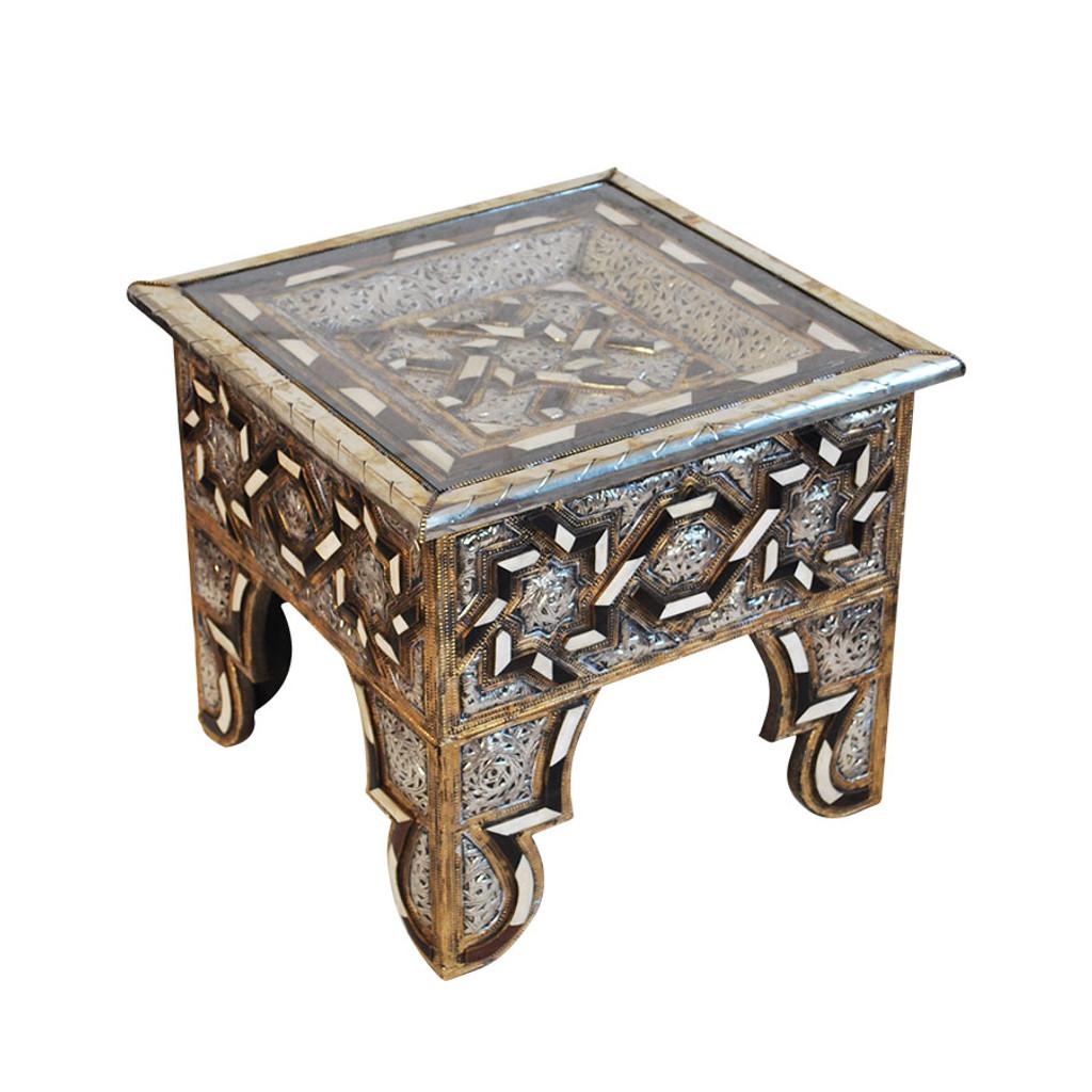 Moroccan Metal U0026 Bone Inlaid Square Coffee Table