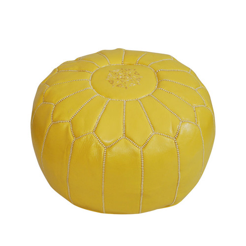 Moroccan  Pouf Yellow Leather