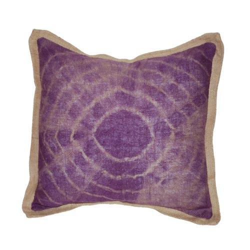 Tie dye purple burlap pillow
