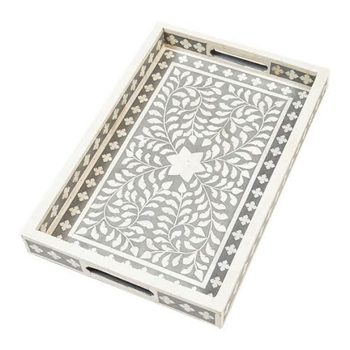 Indian Bone Inlaid Tray, Gray