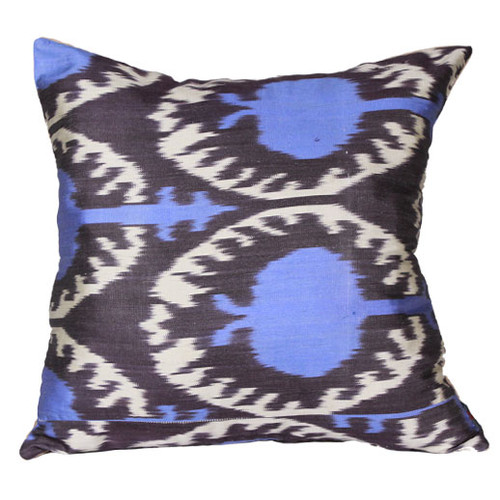 Ikat Pillow, Blue & Eggplant