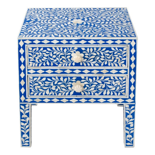 Indian Bone Inlaid Nightstand Table, 2 Drawers ,Blue