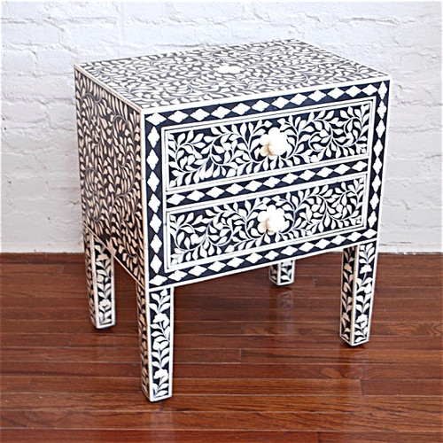 Indian Bone Inlaid Nightstand Table ,Black