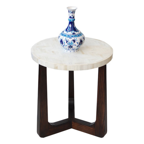 R70 Bone Inlaid Side Table, Natural