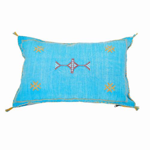 Moroccan Berber Sabra Throw Pillow, Turqoise 2