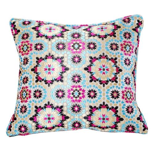 Moroccan Zellij Fabric Throw Pillow , Blue