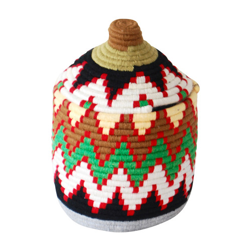 Moroccan Bread Basket, Red and Green