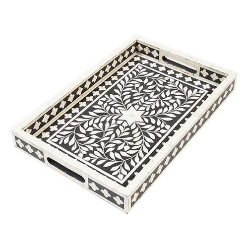 Indian Bone Inlaid Tray Black Sheherazade