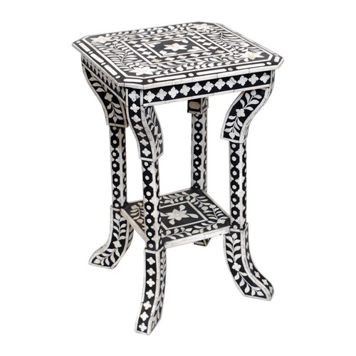 Indian Bone Inlaid Side Table Black Sheherazade 174 Home