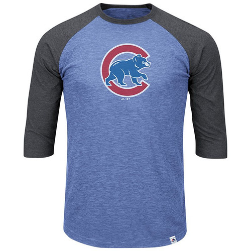 54a7631360c Chicago Cubs Majestic Grueling Ordeal 3 4-Sleeve Raglan T-Shirt in Blue