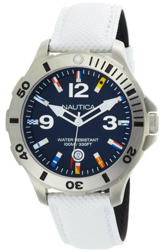 Nautica BFD 101 Flag Markers White Polyurethane Band Men Watch N12568G