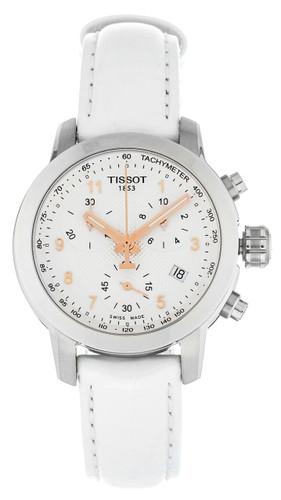 Tissot PRC 200 Chronograph White Leather Women's Watch T0552171603201