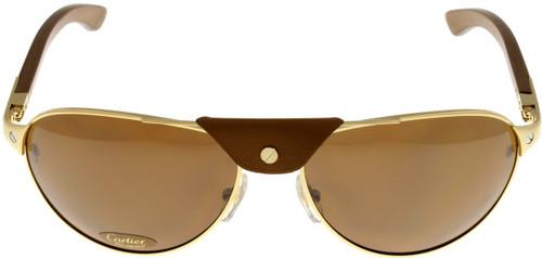 Cartier T8200862 Santos Dumont 61mm Gold Men's Rimmed Sunglasses