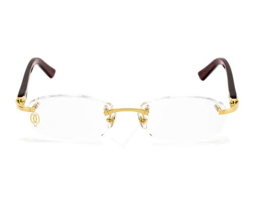 Cartier C Décor Burgundy Composite Women's Optical Eyeglasses T8101217
