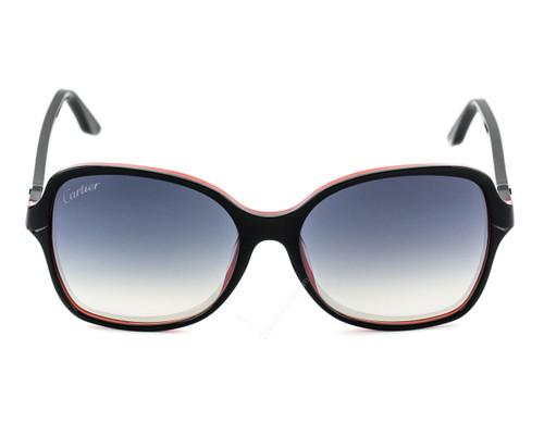 Cartier Double C Décor Black Red Composite Women's Sunglasses ESW00099