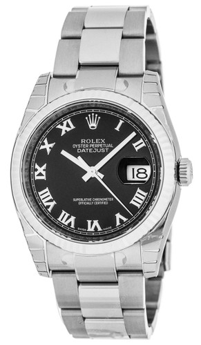 Rolex Datejust 36mm BLK DI Rom Fluted Steel Oyster Unisex Watch 116234