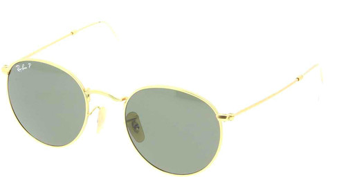 Ray-Ban Round Green Classic G-15 Metal Gold Sunglasses RB3447 112/58