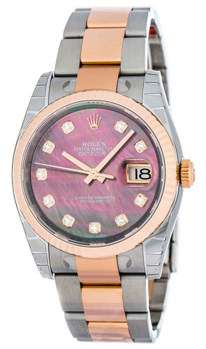 Rolex Datejust 36mm Mother/Pearl Dial DIA Fluted Oyster Watch 116231