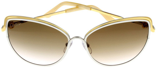 Cartier Trinity Brown Lenses Two-tone Metal Women Sunglasses ESW00083