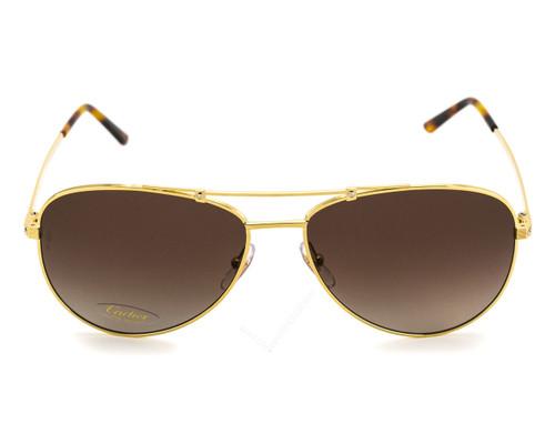 Cartier Santos 61mm Brushed Gold Metal BRN Lens Sunglasses ESW00131