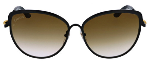 Cartier Trinity Brown Lenses Black Cat Eye Women Sunglasses ESW00187