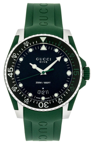 Gucci Dive Black Dial Rotating Bezel Green Rubber Men Watch YA136310