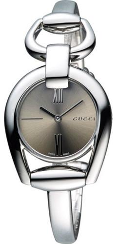 Gucci Horsebit Small Brown Sun-Brushed Dial SS Bangle Watch YA139501