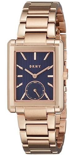 DKNY Gershwin Blue Dial Rectangular Rose Gold Steel Women Watch NY2626