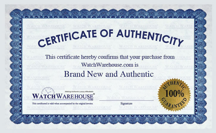 An example Watch Warehouse Certificate of Authenticity card