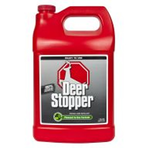 Deer Stopper is a highly effective formula for preventing deer, elk and moose damage on all shrubs, flowers, plants and turf areas when used according to directions. With rosemary oil, mint oil, cinnamon oil and putrescent whole egg solids as active ingredients, this product works by smell, taste, and feel. Lasts for approximately 30 days. Covers an area of 4,000 sq ft.