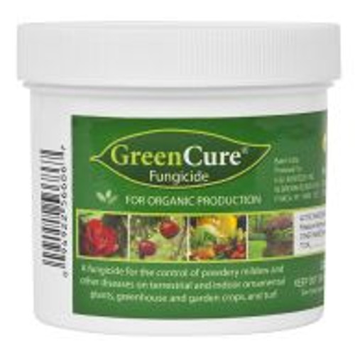 """GreenCure is a potassium bicarbonate based fungicide used to control powdery mildew, black spot and other common plant diseases. GreenCure is recommended as a foliar treatment for more than 85 different plant varieties including vegetables, trees, ornamentals and houseplants. One tablespoon of powdered GreenCure to 1 gallon of water will cover approximately 450 square feet. GreenCure is also registered """"for organic production"""" by the USDA's National Organic Program (NOP)."""
