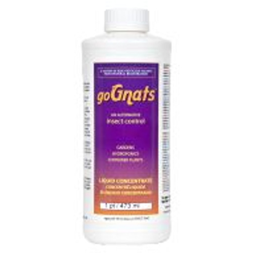 Poison-free alternative goGnats is for the control of soil-fungus gnats, mites, aphids, moths and other garden and hydroponic pests that may be used as a plant and area spray, added to nutrient reservoirs or used as a soil drench. It can be added directly to reservoirs on a regular basis as part of a plant maintenance program and used indoors and out. The goGnats product is exempt from EPA registration under section 25(b) of FIFRA. Not for sale in IN, KY, MS, TN, and VT.