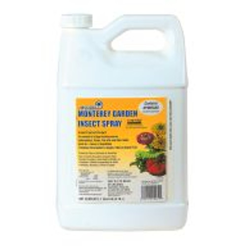 Monterey Garden Insect Spray uses Spinosad to effectively control thrips, leafminers, fire ants, diamond-back moths, borers and more. Gardeners mix four tablespoons of concentrated liquid Monterey Garden Insect Spray to one gallon of water (or as much is needed for a single treatment) for easy foliar applications. Derived through fermentation of a naturally-occurring soil bacterium, this fast-acting insecticide can be used on fruit and vegetable crops, ornamentals and turf.