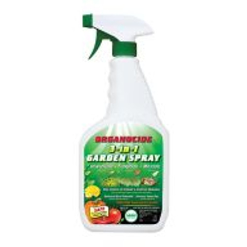 Organocide insecticide and fungicide effectively controls 25 common insect pests such as mites, whiteflies, and aphids as well as 4 problem plant diseases including powdery mildew and black spot. All-natural Organocide is a blend of sesame and fish oils that poses no risk to the environment. Comes in a convenient ready-to-use bottle so there's no mixing and no mess. 24 oz.