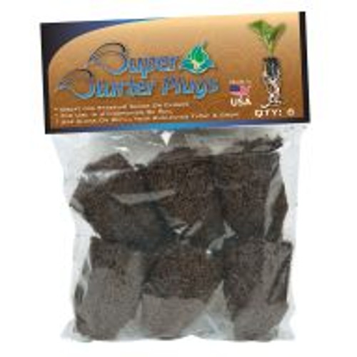 Super Starter Plugs provide an ideal air-to-water ratio to give plants the best start possible. These bioactive plugs are comprised primarily of composted tree bark and peat moss and can be used in soil or hydroponic applications. A predrilled hole in each plug makes planting a cinch. Pack of 6.