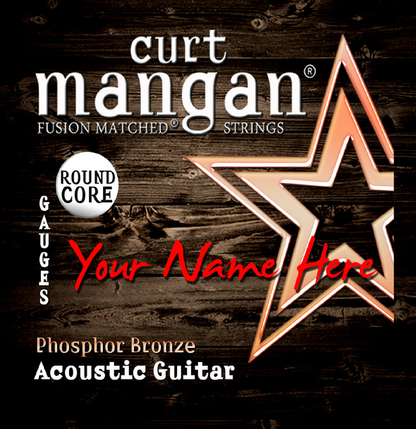8 X Phosphor Bronze ROUND CORE Wound 3rd 6-String Custom Guitar String Sets