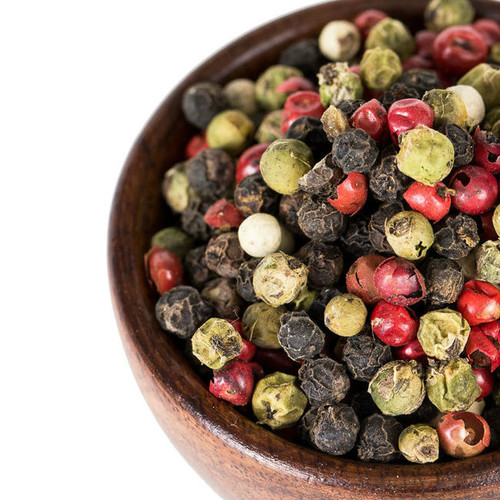 Our Four-Color Peppercorn Blend is an eye catching colorful and multi-layered mixture of black, white, green and pink peppercorns. Use anywhere you would use whole or ground black pepper to add layered, multi-dimensional pepper flavor. Excellent as part of a rub for meat, poultry or seafood. Great in vinaigrettes and creamy salad dressings.