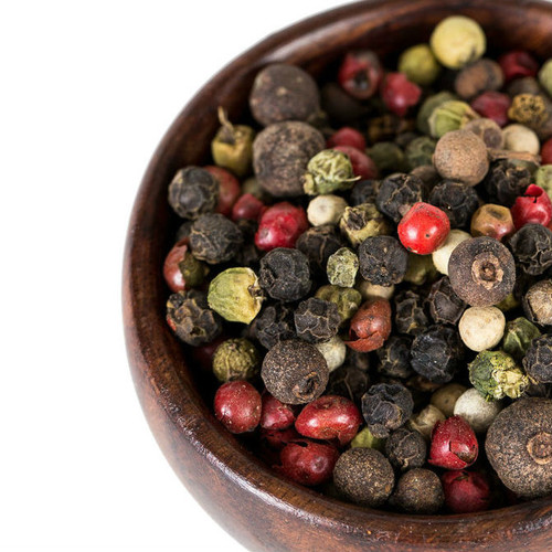 Our Five-Color Peppercorn Blend is an eye catching colorful and multi-layered mixture of black, white, green and pink peppercorns, combined with a small amount of Jamaican allspice, adding sweet undertones. Use anywhere you would use whole or ground black pepper to add layered, multi-dimensional pepper flavor. Excellent as part of a rub for meat, poultry or seafood. Great in vinaigrettes and creamy salad dressings.