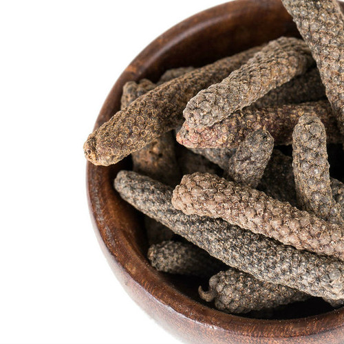 Native to India and Indonesia, long pepper can be used in whole form, like bay leaves, or ground in a spice grinder or food processor. With a slightly fragrant smell and flavor, yet much more complex than black pepper, it is reminiscent of a spice blend than a single spice. It has a less harsh, more subtle heat to black pepper and is tempered by sweet notes of nutmeg, cinnamon, cardamom, allspice and pine. The finish lingers on the tongue with a slight coolness; where black pepper stings, long pepper balms.