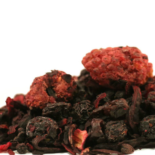 Mountain Berry Harvest is our handcrafted fruit tea blend that combines real strawberries, raspberries, blueberries and elderberries to create a fruity berry explosion with a sweet taste. This tea will also make a great mixer base for any spring or summer time cocktail.