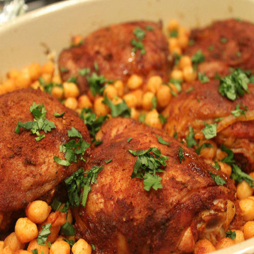Smoked Paprika Chicken Thighs with Chickpeas