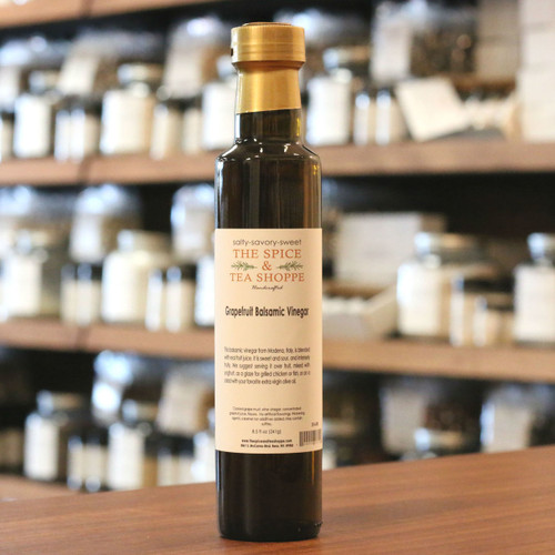 Grapefruit Balsamic Vinegar - This balsamic vinegar from Modena, Italy, is blended with real fruit juice. It is sweet and sour, and intensely fruity. We suggest serving it over fruit, mixed with yoghurt, as a glaze for grilled chicken or fish, or on a salad with your favorite extra virgin olive oil.