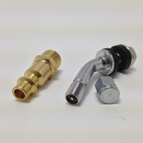 Comes standard with a tire valve stem or optional compressor npt fitting.