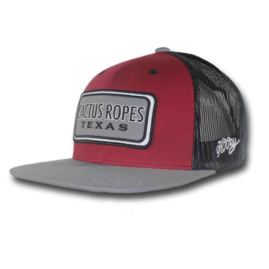 Men's Hooey Cap, Cactus Ropes, Maroon and Gray, Trucker Style